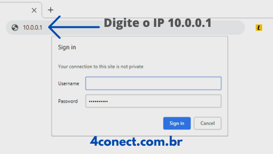 login 10.0.0.1 no seu navegador